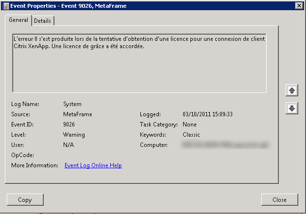 Error 0 received while obtaining a license for a XenApp